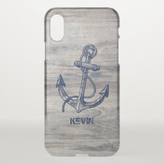Aged Wood Planks & Blue Nautical Boat Anchor. iPhone X Case