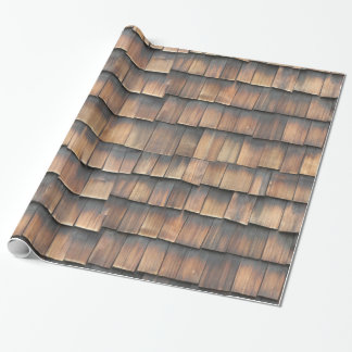 Aged Wooden Shingles Abstract Photography for Him Wrapping Paper
