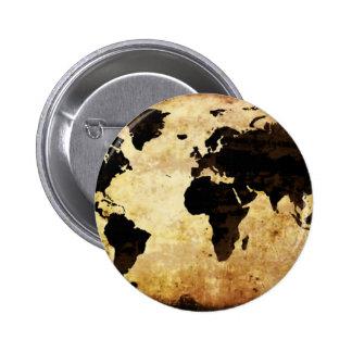 aged-world-map 6 cm round badge