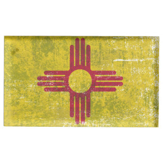 Ageing of the New Mexico flag Place Card Holder