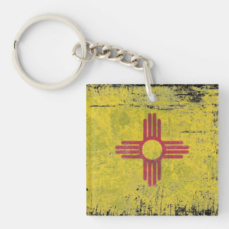 Ageing of the New Mexico flag Single-Sided Square Acrylic Key Ring