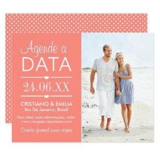 Agende a Data Foto Cartão    Cores Rosa e Branco Card
