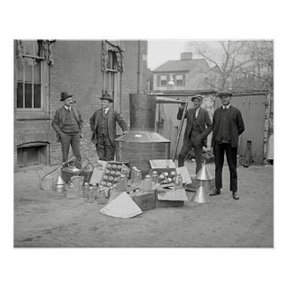 Agents with Moonshine Still, 1922. Vintage Photo Poster