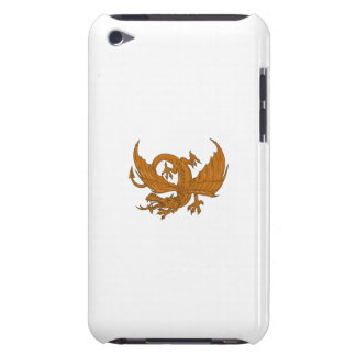 Aggressive Dragon Crouching Drawing Barely There iPod Cases