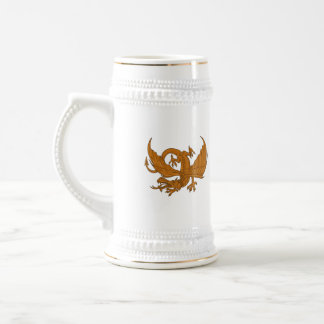 Aggressive Dragon Crouching Drawing Beer Stein