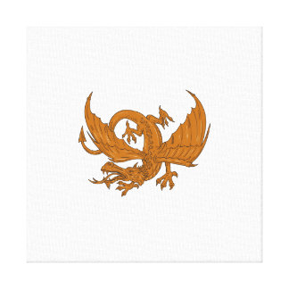 Aggressive Dragon Crouching Drawing Canvas Print