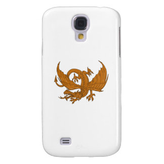 Aggressive Dragon Crouching Drawing Galaxy S4 Covers