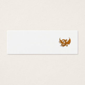 Aggressive Dragon Crouching Drawing Mini Business Card