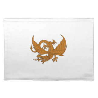 Aggressive Dragon Crouching Drawing Placemat