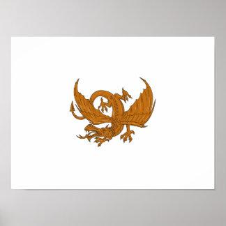 Aggressive Dragon Crouching Drawing Poster