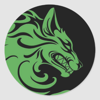 Aggressive Green and Black Tribal Wolf Classic Round Sticker