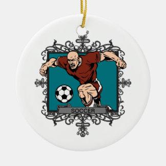 Aggressive Men's Soccer Ceramic Ornament