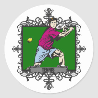 Aggressive Men's Tennis Round Sticker