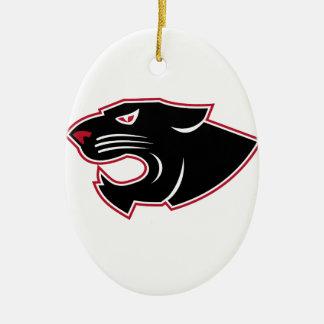 Aggressive Panther Head Icon Ceramic Ornament