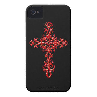 Aggressive Red Gothic Cross iPhone 4 Case-Mate Case