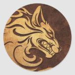 Aggressive Rough Stone Tribal Wolf Graphic Round Stickers