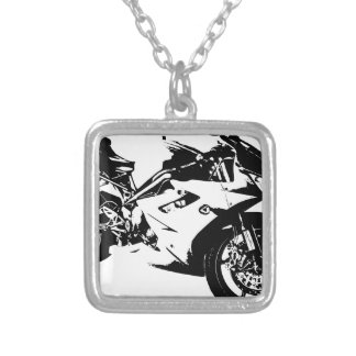 aggressive sport motorcycle silver plated necklace