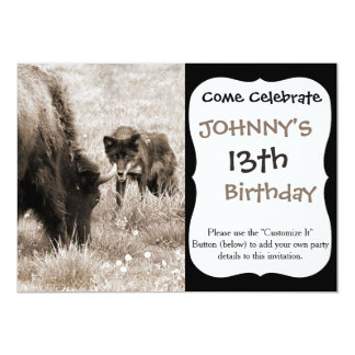 Aggressive wolf hunting bison 13 cm x 18 cm invitation card