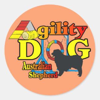 Agility Australian Shepherd Gifts Round Sticker