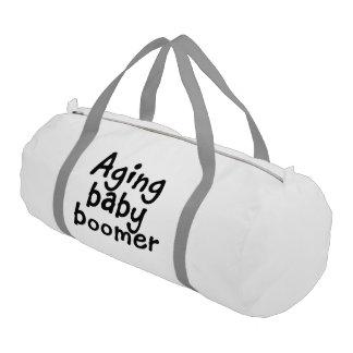 Aging baby boomer gym duffel bag