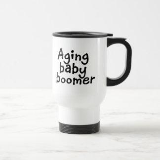 Aging baby boomer travel mug