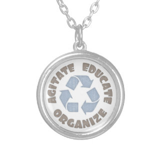 Agitate Educate Organize Silver Plated Necklace