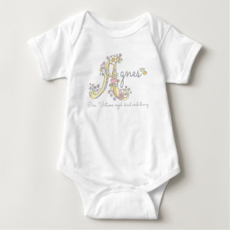 Agnes girls name meaning A monogram hearts Baby Bodysuit