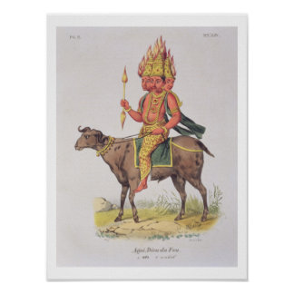 Agni, God of Fire, engraved by Charles Etienne Pie Poster