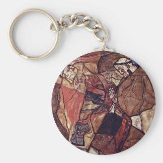 Agony (The Death Struggle) By Schiele Egon Basic Round Button Key Ring
