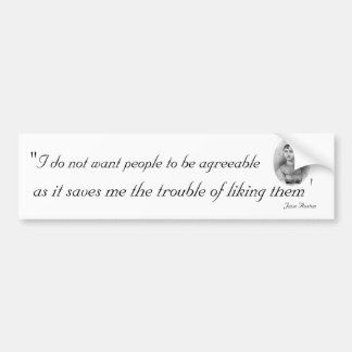 Agreeable People: Quotable Jane Austen Bumper Sticker