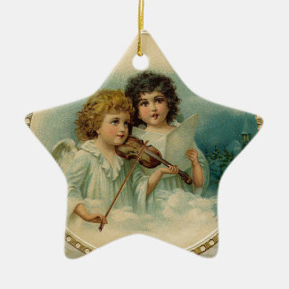Agreeable - Two Little Musical Angels Ceramic Ornament