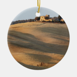 Agricultural field at sunset, Val d'Orcia, Tusca Round Ceramic Decoration