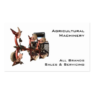 Agricultural machinery tractor and plow pack of standard business cards