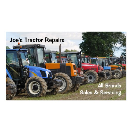 Agricultural tractors business card