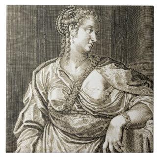Agrippina wife of Tiberius (engraving) Large Square Tile