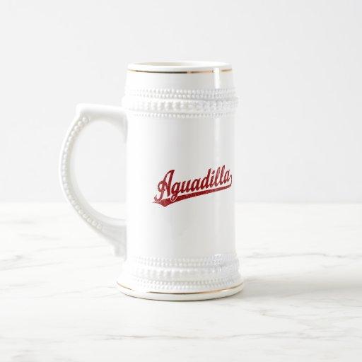 Aguadilla script logo in red mugs