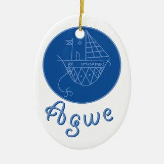 Agwe Veve Ceramic Oval Ornament