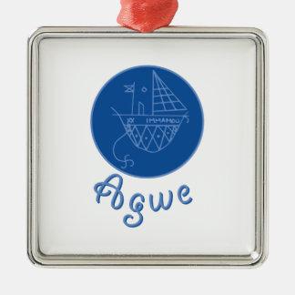 Agwe Veve Silver-Colored Square Decoration