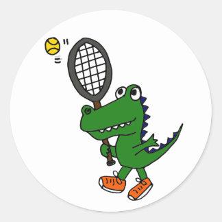 AH- Funny Gator Playing Tennis Classic Round Sticker