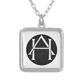 AH Monogram for the initials / letters AH. Square Pendant Necklace