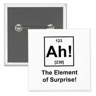 Ah! The Element of Surprise 15 Cm Square Badge