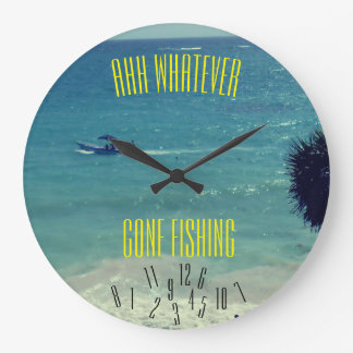 Ahh Whatever Gone Fishing - Large Clock