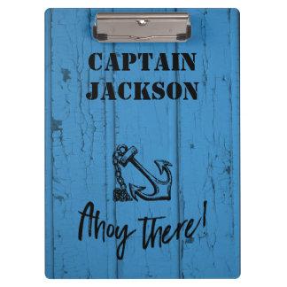 Ahoy! Anchor on Old Peeling Blue Wood Design Clipboards