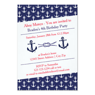 Ahoy Anchors Birthday Party - 3x5 Invitation