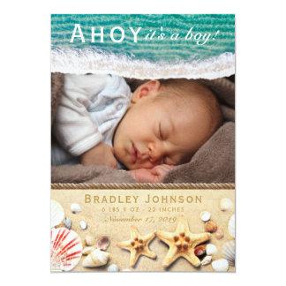 Ahoy it's a Boy Baby Birth Announcement