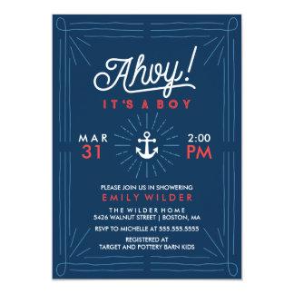 Ahoy It's A Boy | Nautical Baby Shower Card