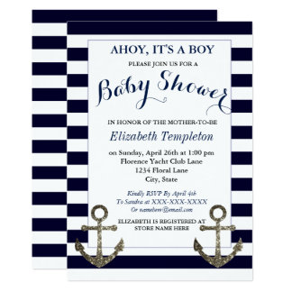 Ahoy It's a Boy Nautical Baby Shower Invitations