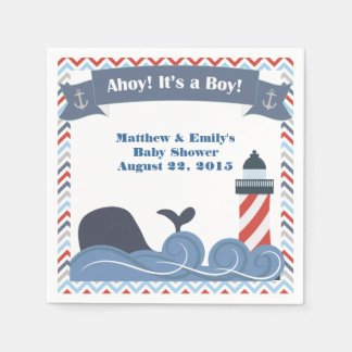 Ahoy Its a Boy Nautical Baby Shower Paper Napkins