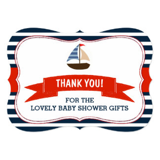 Ahoy It's A Boy! Nautical Boat Baby Shower Thanks 13 Cm X 18 Cm Invitation Card