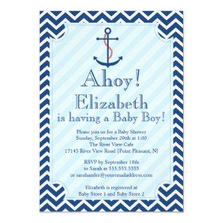 Ahoy It's A Boy Nautical Sailboat Boy Baby Shower 13 Cm X 18 Cm Invitation Card